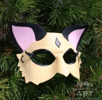Kirara - InuYasha handmade leather costume mask by nondecaf