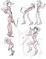 life drawing cowboys by robtheR0B0T
