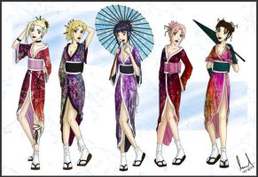 Naruto Geisha Girls by DragonKissed