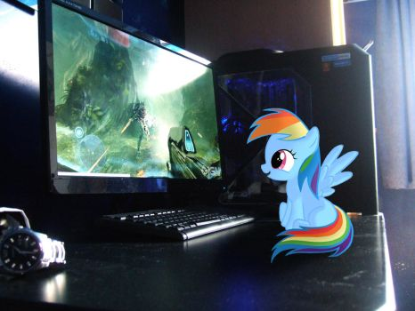 My Little Dashie Watching Halo 4 Gameplay by mBrooksBrony