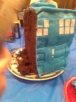 First Cut of The Tardis Cake by QuirkyCakes