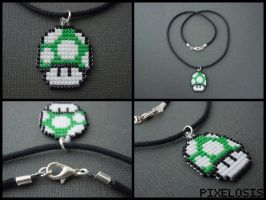 Handmade Seed Bead Green 1up Mushroom Necklace by Pixelosis