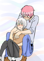 Piko and Yuma hugging by IZ-Dib-JTHM-luver