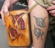 biomech leather with tattoo by freakeaux