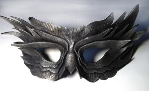 Black feather leather mask by Shadows-Ink