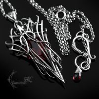 XAQGNAAR - silver and red quartz by LUNARIEEN