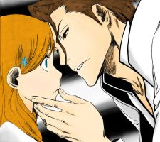 Aizen and Orihime 313 by swordsman-jay