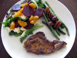 pork chops, beans and pecans and beet salad by chrisravensar