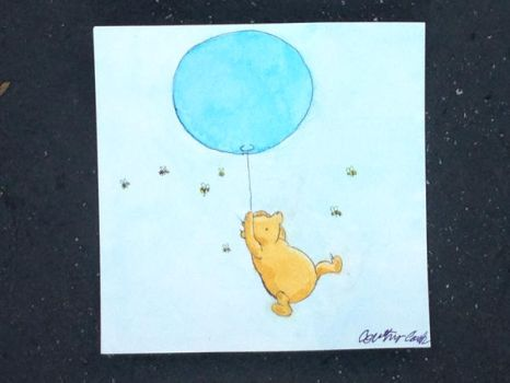 Classic Winnie the Pooh riding on a balloon by Nala1994