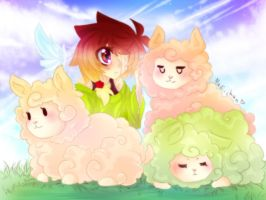 Yumi and her Fluffypaca's by Nadi-Chan