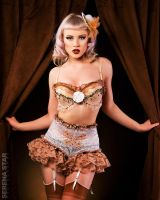 Tan and White Pinup outfit by ScarletFairyDesigns