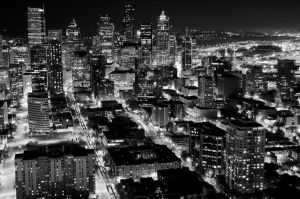 Seattle Night BW by vanecka