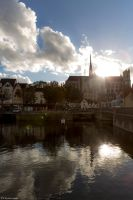 Amiens Cathedral Alongside The Canal by IgorRybaltchenko
