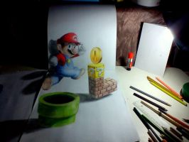 Super Mario in 3D drawing by Saules-dievas