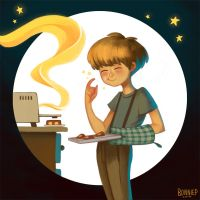 Moon, cakes and stars by l3onnie