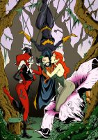 Batgirl, Poison Ivy and Harley colors low by BDixonarts