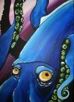 Blue squid on canvas by FA-Q