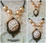 Cameo necklace with pearls and lace by marakigr