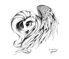 Fluttershy side sketch by AltoHearts