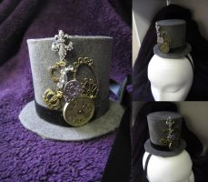 Black and grey steampunk inspired mini top hat by MelissaRTurner