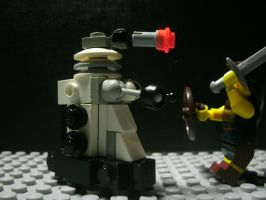Dalek VS a guy white a sword. by starwars98