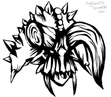 DAIBLOS THE ONE HORNED DEMON KING- INKED by nightclaw534