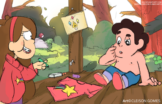 Art Crossover Steven and Gravity Falls by iKiy