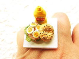 Bagel Sandwich and Mustard Ring by souzoucreations