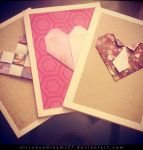 Origami Heart Cards Trio by strryeyedreamr27