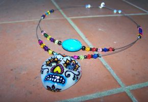 Sugar Skull Necklace by ApostacyArt