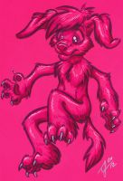 Neon pink pup by Zelaphas
