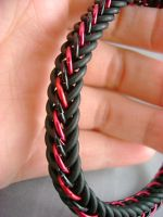 Red and Black Stretch Bracelet by monsterkookies