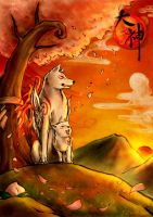 Okami - Our Sunset by ZilvenArt