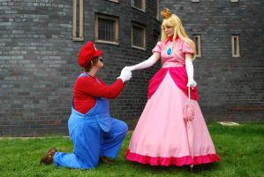 Peach and Mario by JustPeachyCosplay