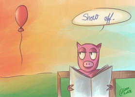 The pig and the balloon. by TheGweny