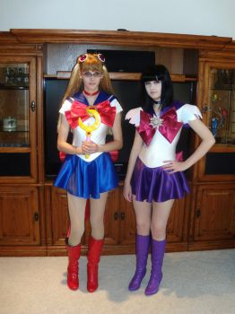 Sailor Moon and Sailor Saturn by chickenlady4321