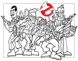 Ghostbusters Print (lineart stage) by CoreyremarK