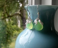 Honeydew Green Chalcedony, Tiny Pearls Earrings by QuintessentialArts