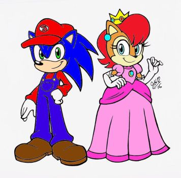 Sonally - Mario and Peach Colored by chibi-jen-hen by MarioandSonic999