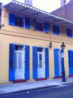 Yellow with Blue Shutters by twofortheprice
