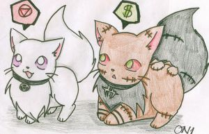 Hidan and Kakuzu Kittys by OniNatsuyo