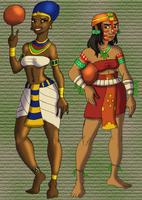 Egyptian and Olmec Ball Players by DaBrandonSphere