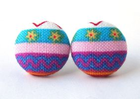 Easter egg stud earrings button spring bright pink by KooKooCraft