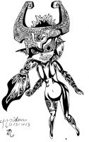 Midna in black and white by Colarty