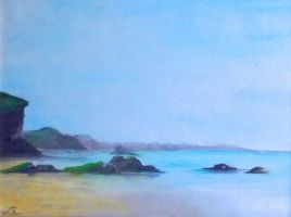 Las Catedrales beach. Watercolor by LauraMSS