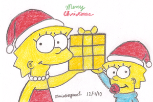 Lisa and Maggie Christmas by MarioSimpson1