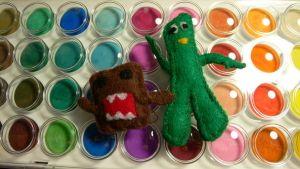 dancing domo and gumby by gippentarp