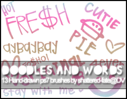 Doodles and Words Brushes by shattered-fate