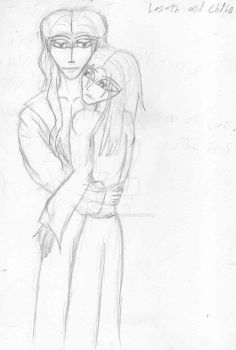 Sketch - Chlio and Laseth by chelsea666akasha