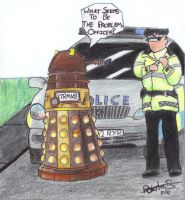 Dalek and Policeman by LillyCat21